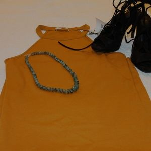 🎃 NWT Zara Trafaluc yellow fitted dress